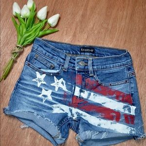 Bebe Red White & Blue Painted Denim Jean Shorts